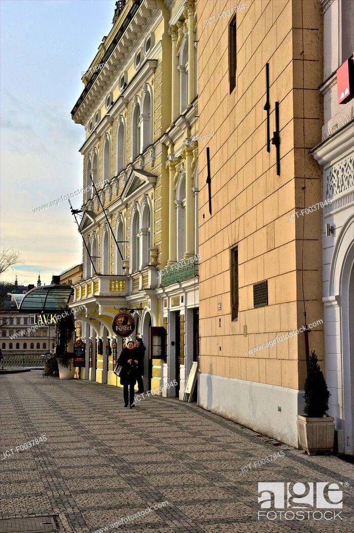 Stock Photo: Czech Republic, Prague, hotel near Vltava river.