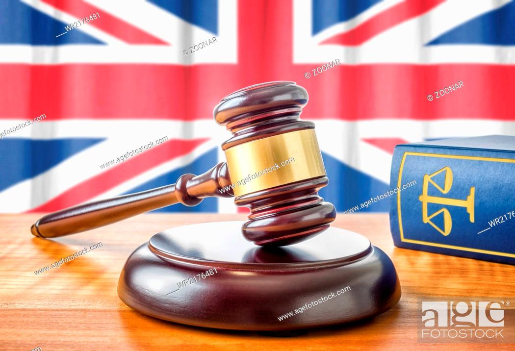 Stock Photo: A gavel and a law book - United Kingdom.