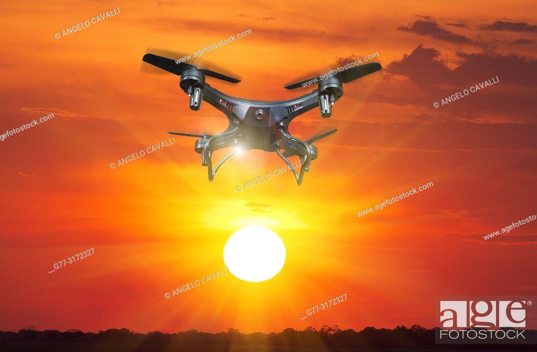 Stock Photo: Drone flying over Okavango Delta. Botswana.