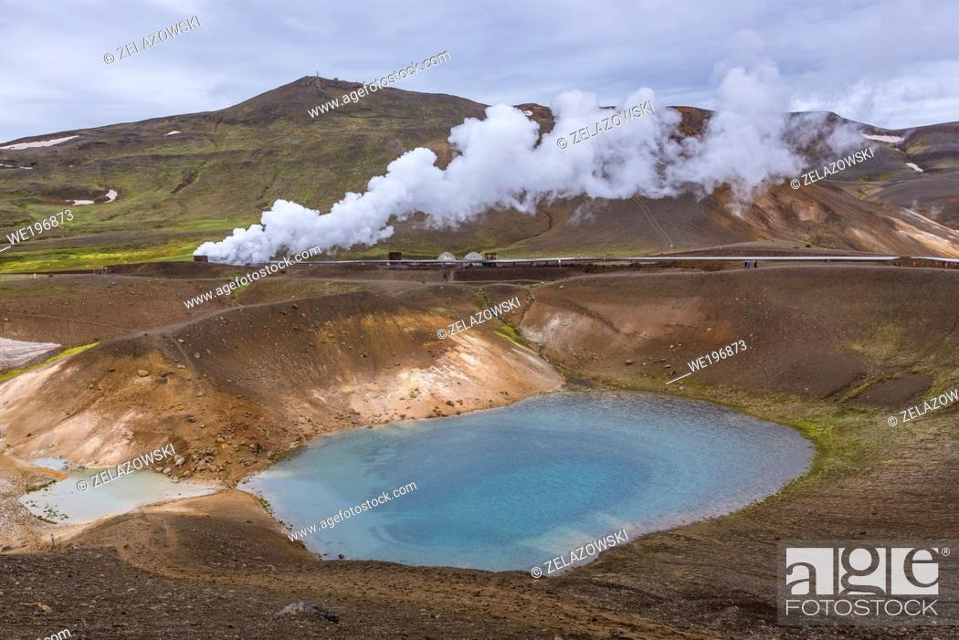 Stock Photo: Pipes of Kroflustod - Krafla geothermal power plant close to the Krafla Volcano in Iceland, view from Viti crater.