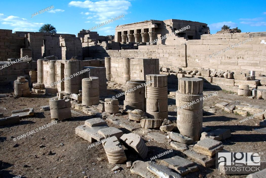 Stock Photo: Egypt,Dendera,Ptolemaic temple of the goddess Hathor.View of ruins in the courtyard.