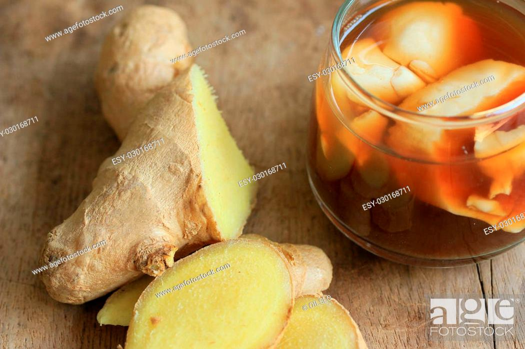 Stock Photo: soybean curd and fresh ginger.