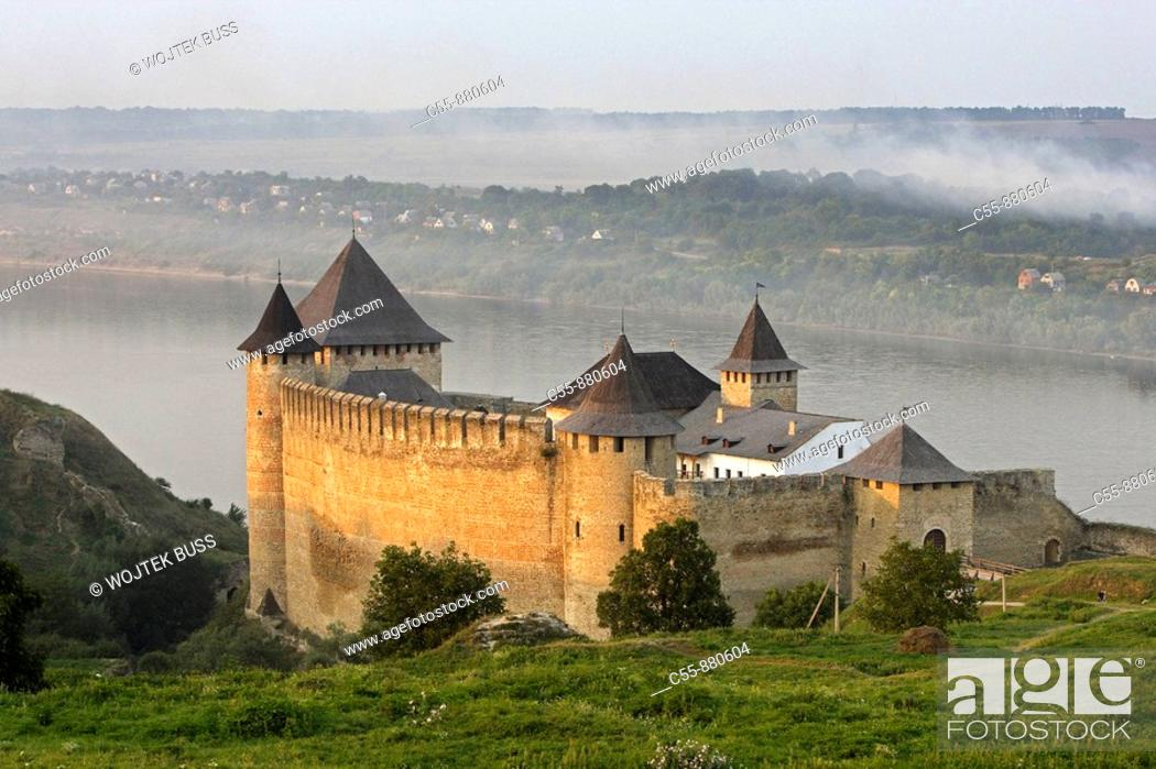 Stock Photo: Khotyn,Chocim,Fortress,citadel,13th-15th-18th century,Dniester river,Chernivtsi Oblast province,Western Ukraine.