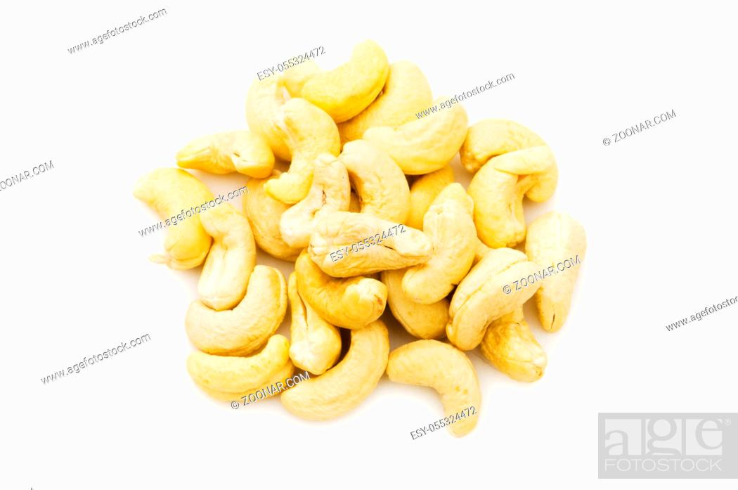 Stock Photo: Cashew nuts isolated on the white background.