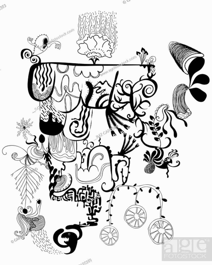 Stock Photo: Black and white abstract and floral shapes.