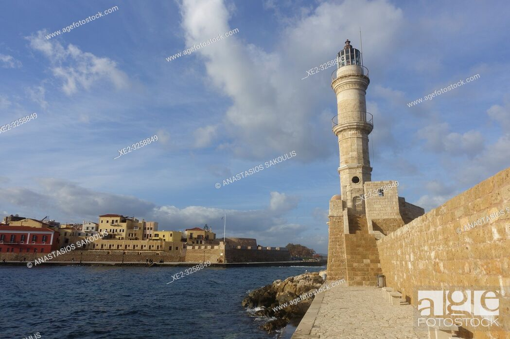 Stock Photo: Chania Venetian Harbor, Crete, Greece.