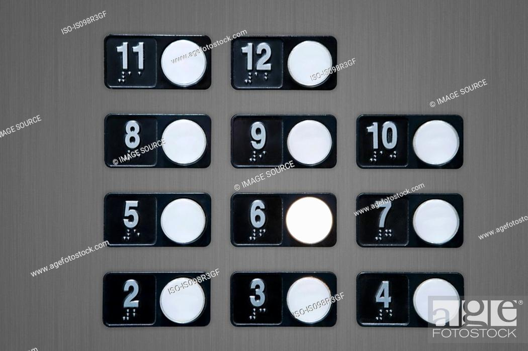 Stock Photo: Floor buttons on elevator panel.