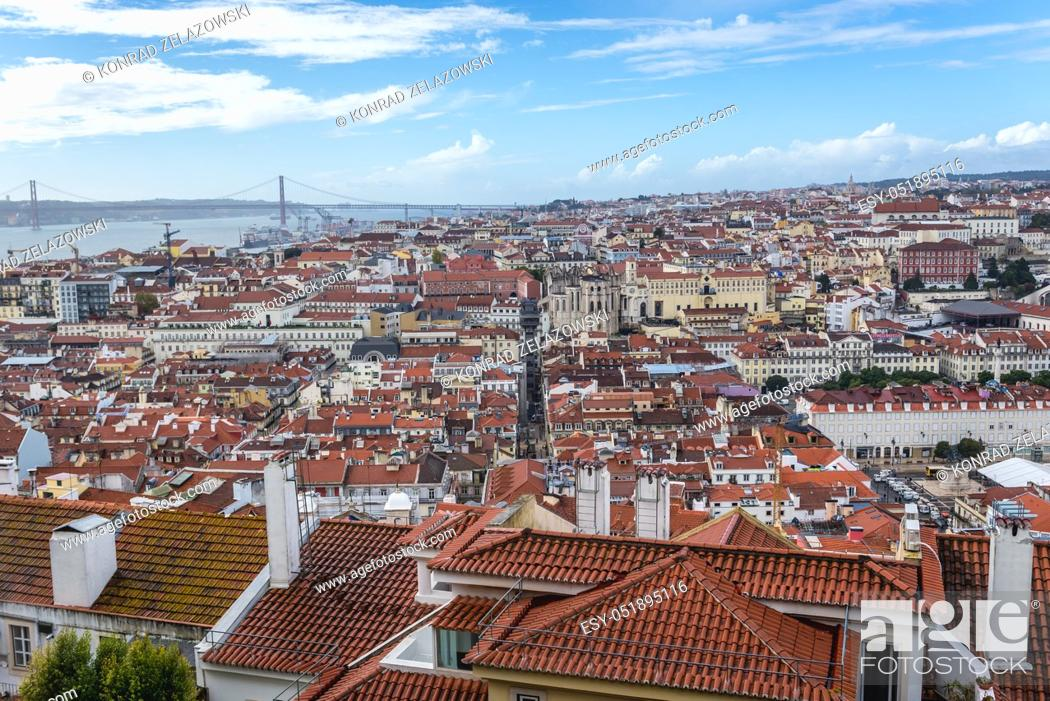 Stock Photo: Cityscape of Lisbon, Portugal seen from Castelo de Sao Jorge viewing point.