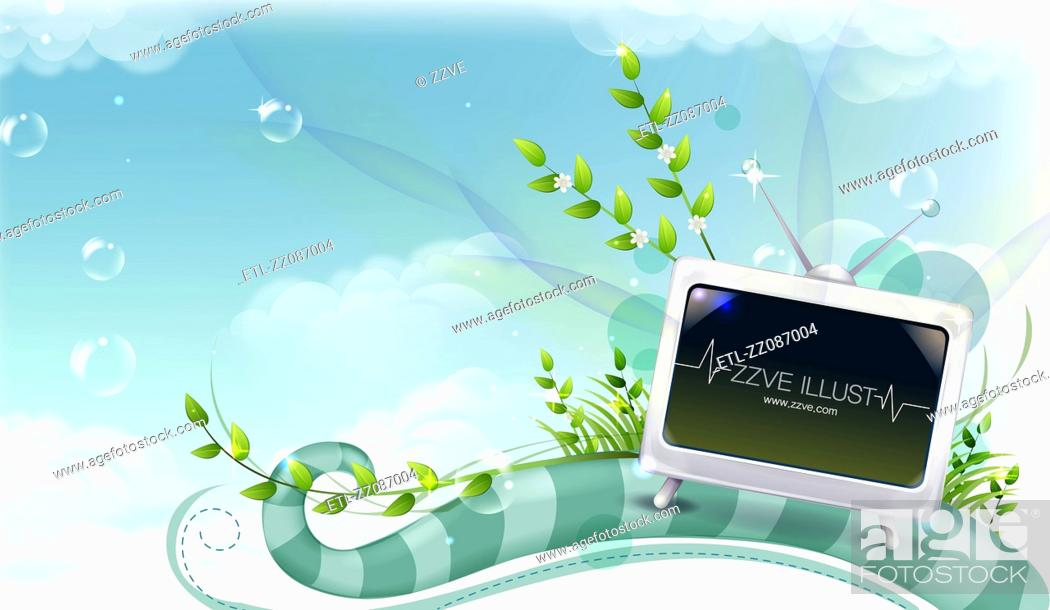 Stock Photo: Television with flora design.