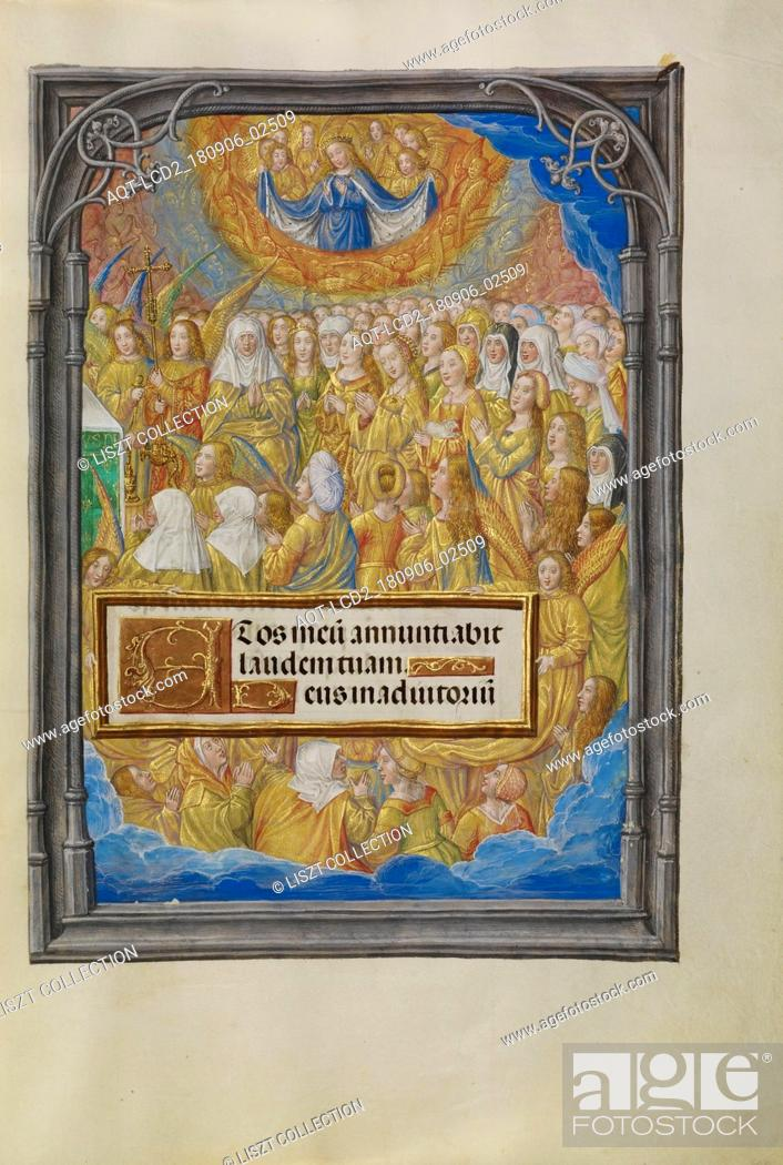 Stock Photo: Female Martyrs and Saints Worshipping the Lamb of God; Master of James IV of Scotland (Flemish, before 1465 - about 1541); Bruges.