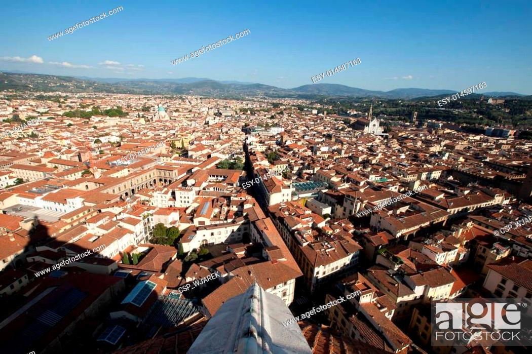 Stock Photo: The view on Florence from the dome Duomo.