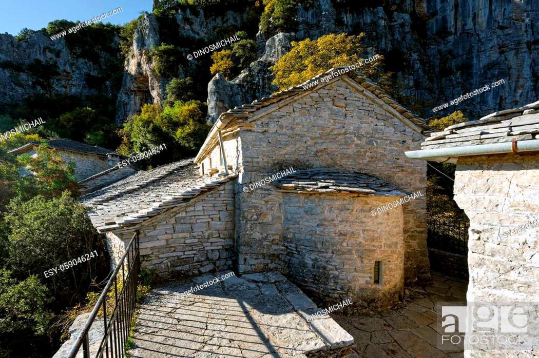 Stock Photo: View of the historic Agia Paraskevi monastery in Monodendri, Greece.