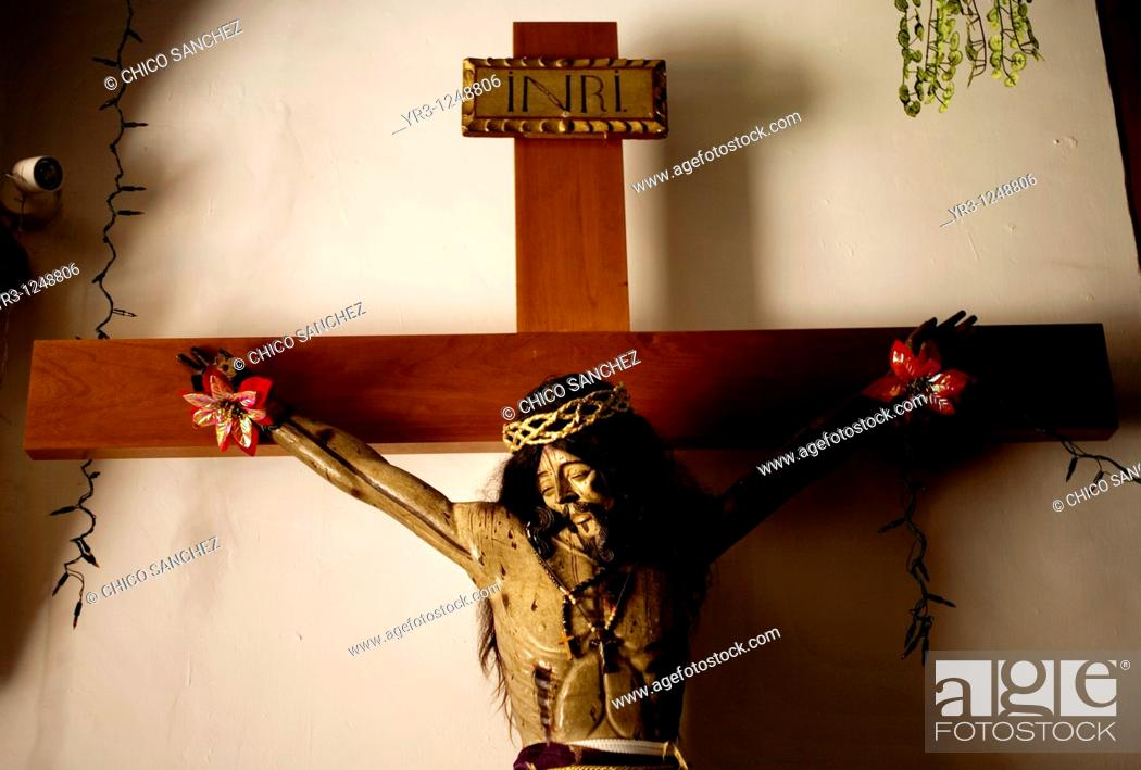 Stock Photo: A sculpture of Jesus Christ hangs in the San Miguel Arcangel Church in Tepoztlan, Mexico.