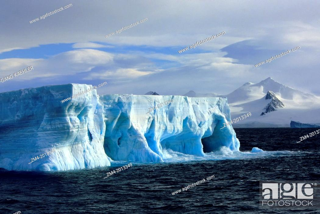 Stock Photo: ANTARCTICA, TABULAR ICEBERG WITH CAVES & ARCHES, MT. BRANSFIELD, ANTARCTIC PENINSULA BACKGROUND.