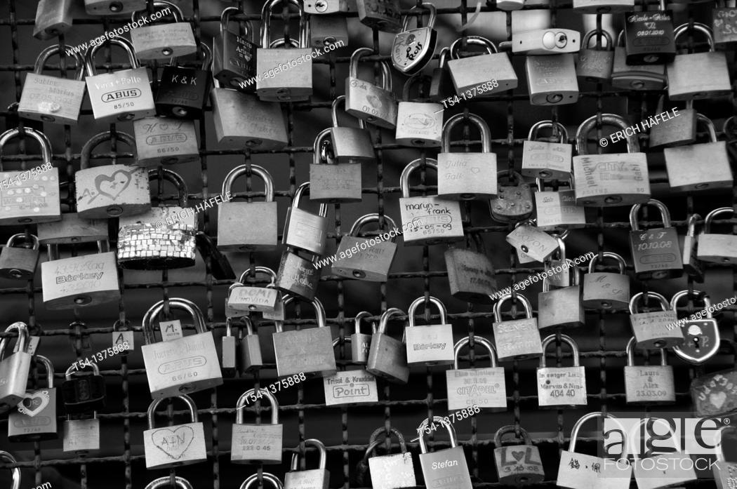 Stock Photo: Love locks at the Hohenzollern Bridge in Cologne.