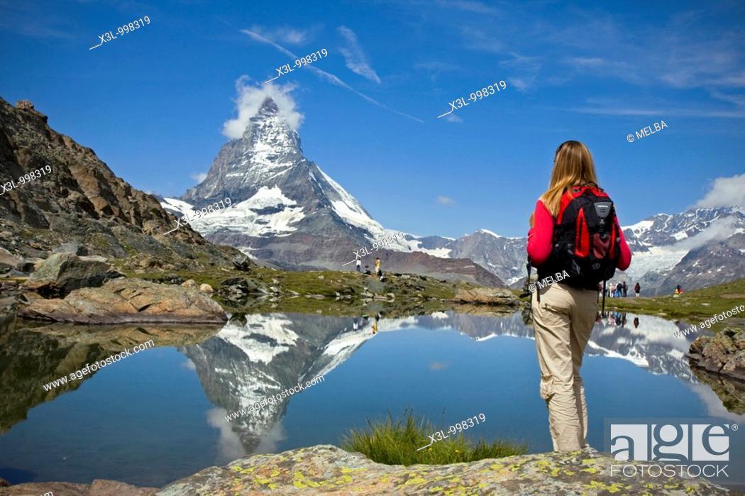 Stock Photo: Riffelsee lake and Matterhorn  Switzerland.