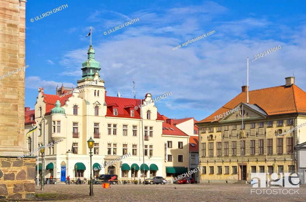 Stock Photo: Kalmar, Sweden, view across the Stortorget main place to the city hotel and town hall.