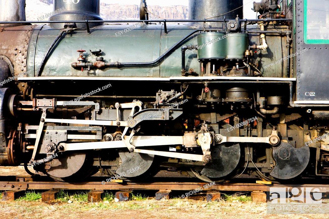 Stock Photo: detail of steam locomotive, Colorado Railroad Museum, USA.