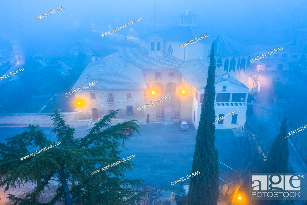Stock Photo: Nuestra Señora del Puy church in the mist. Estella, Navarre, Spain. Europe.