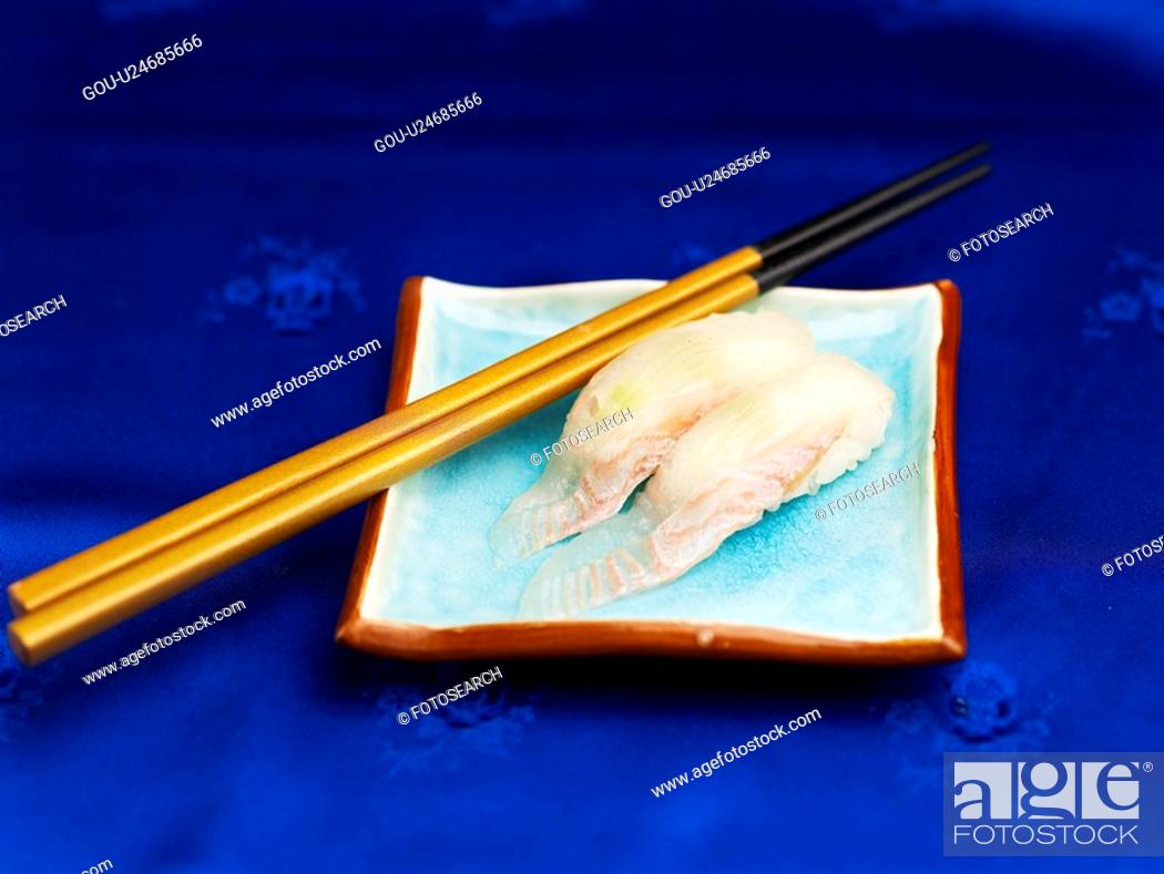 Stock Photo: food, plate, spotty belly greenling, decoration, food styling, cuisine, sushi plate.