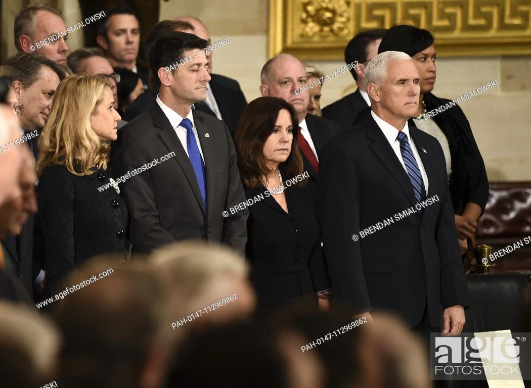 Stock Photo: US Vice President Mike Pence (R), Second Lady of the United States Karen Pence (2R), Speaker of the United States House of Representatives Paul Ryan (R-WI) (2L).