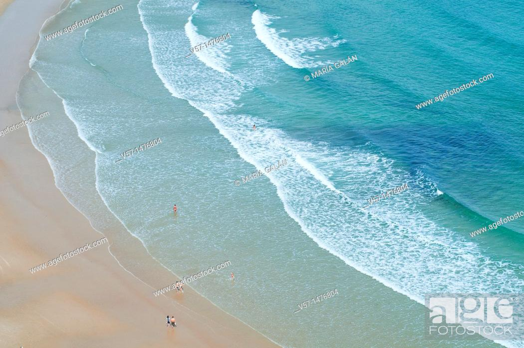 Stock Photo: Seashore in Torimbia beach, view from above. Niembro, Asturias province, Spain.