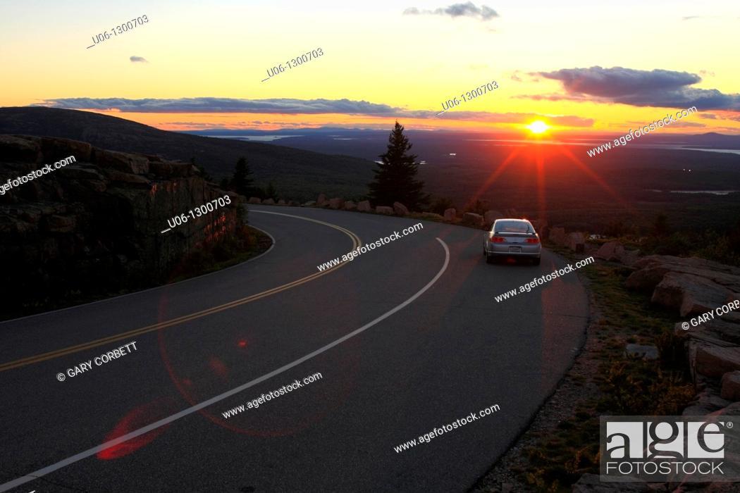 Stock Photo: Cadillac Mountain, Mount Desert Island, Acadia National Park, near Bar Harbor, Maine, USA.