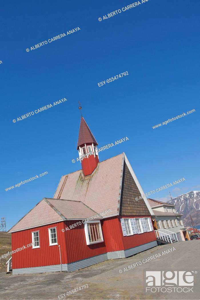 Stock Photo: Our Saviour's Church, Longyearbyen, Arctic, Spitsbergen, Svalbard, Norway, Europe.