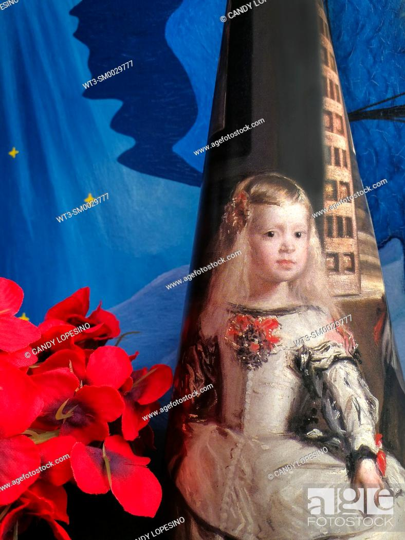 Stock Photo: Infanta Margarita from the painting Las Meninas of Velazquez on blue sky background with stars and red flowers.