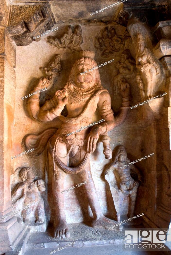 Stock Photo: Narasimha Vishnu's lion incarnation bas relief in cave three ; cave temple 6th century 578 AD ; Badami ; Karnataka ; India.
