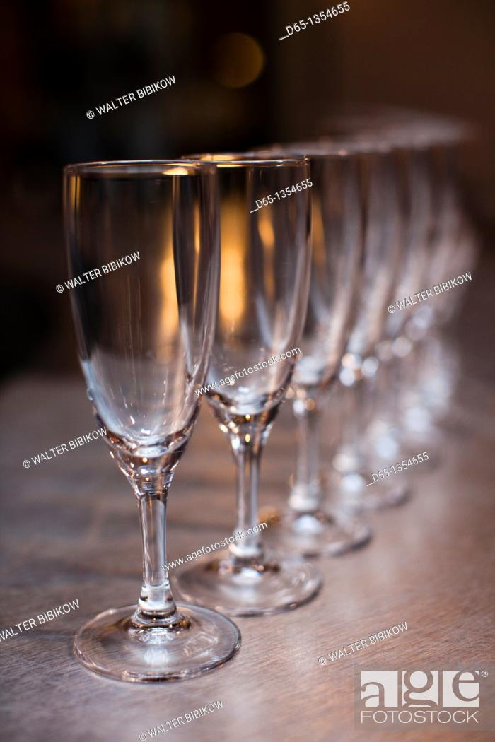 Stock Photo: France, Marne, Champagne Ardenne, Reims, Pommery champagne winery, champagne glasses.