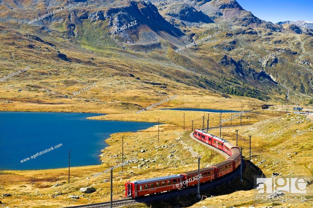 Stock Photo: Bernina express train, Bernina pass, Switzerland.