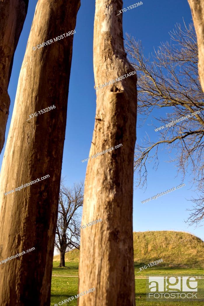 Wooden Stockade and Fox Mound or Mound 60, at Cahokia Mounds