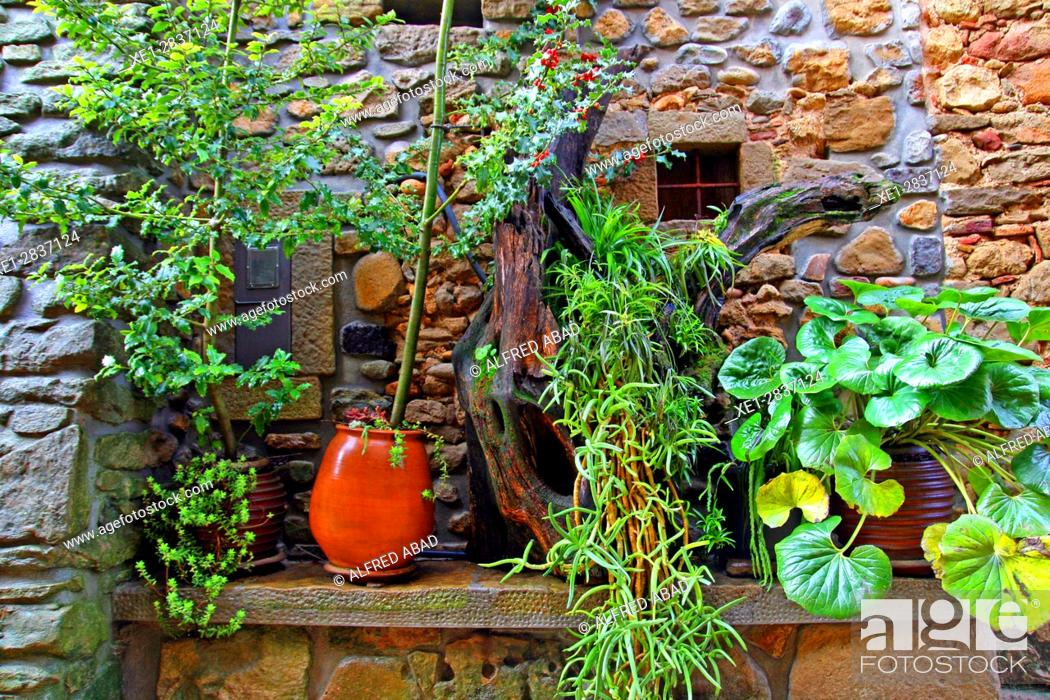 Stock Photo: Flower pots, Flaçà, Girona, Catalonia, Spain.