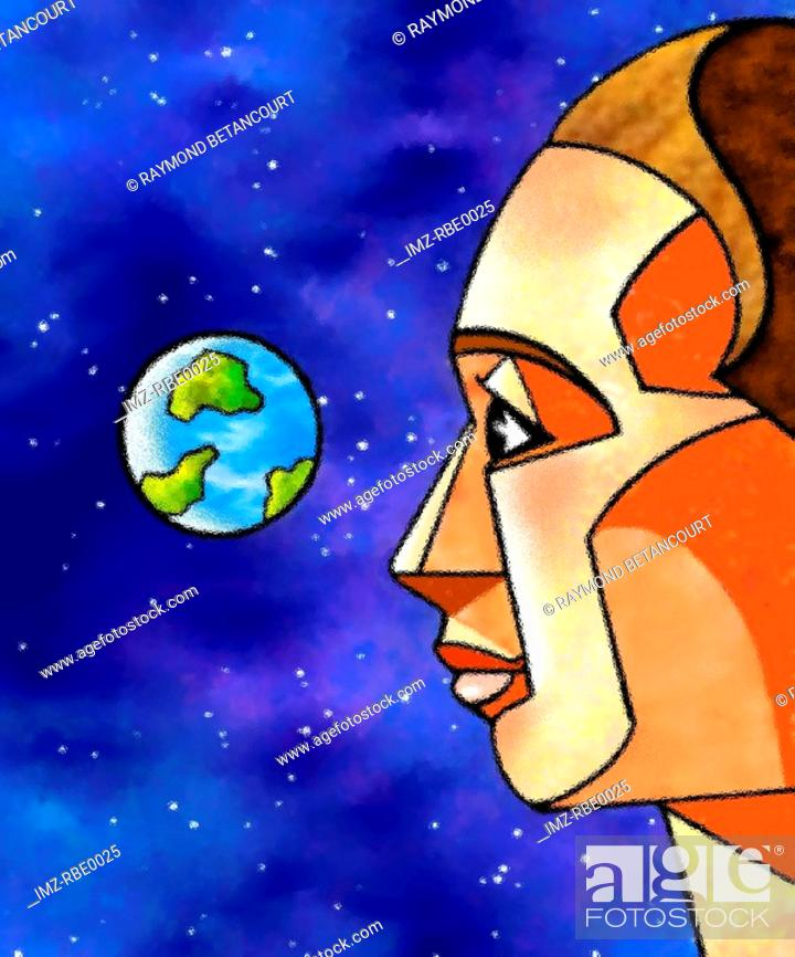 Stock Photo: An illustration of a man in outerspace looking back at the earth.