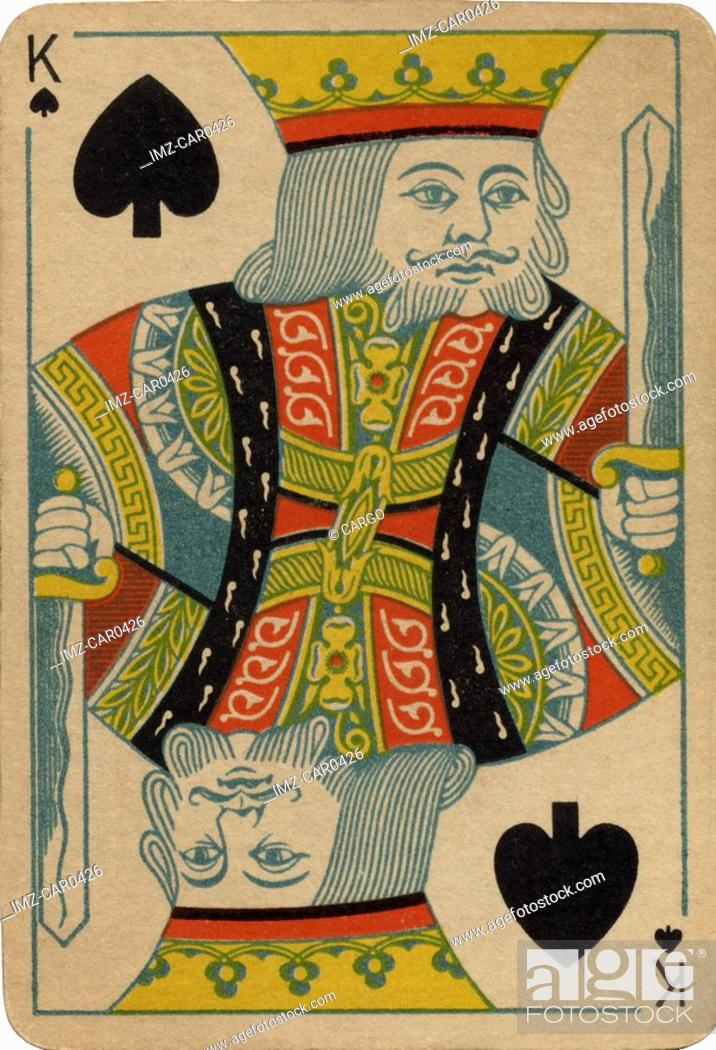 Stock Photo: King of Spades vintage playing card.