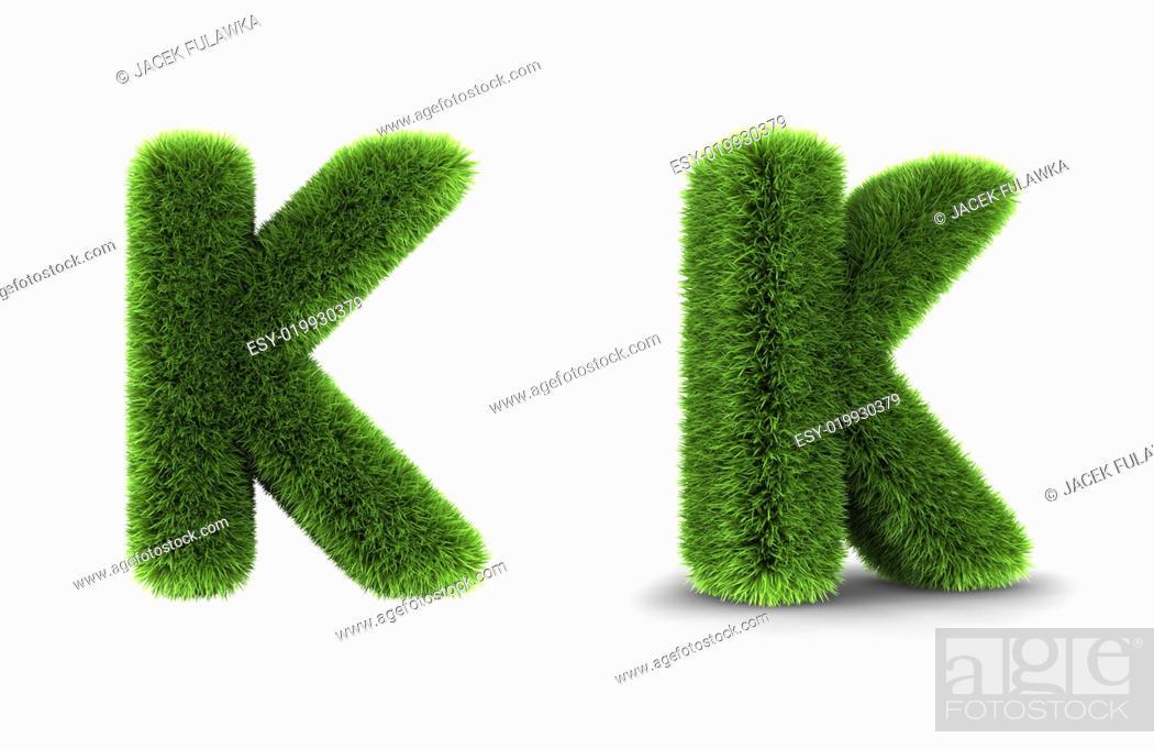 Stock Photo: Grass Letter K.