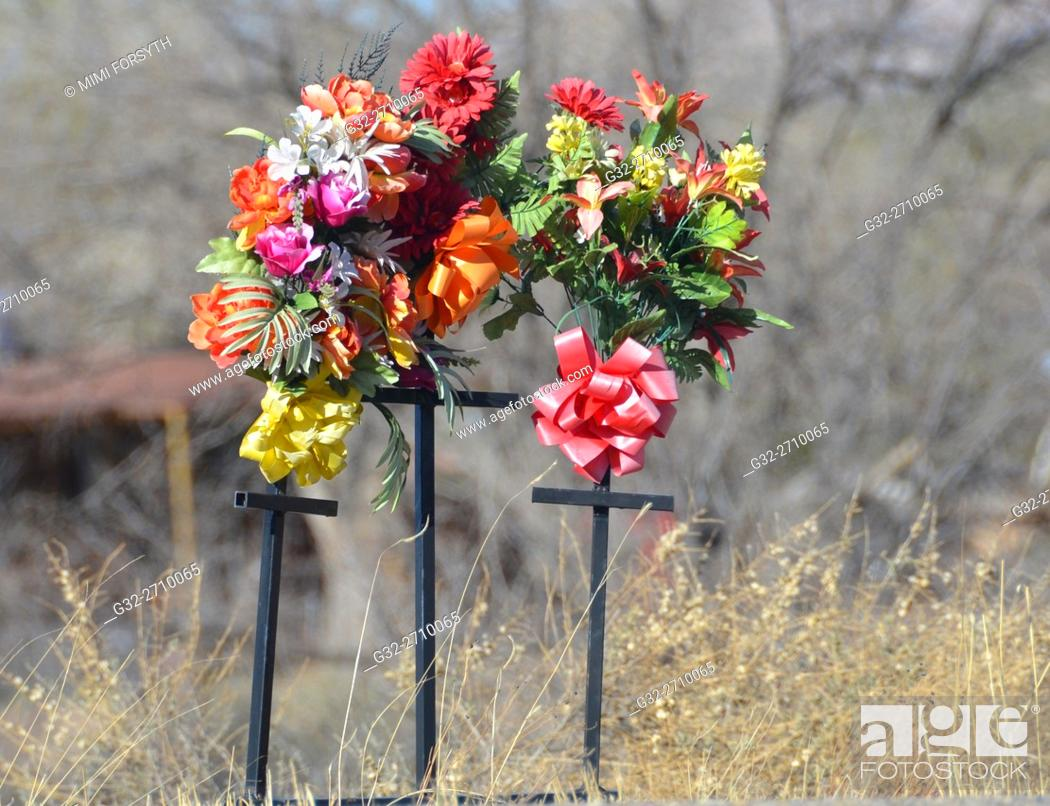 Stock Photo: Roadside memorial to automobile accident victims, New Mexico, USA.