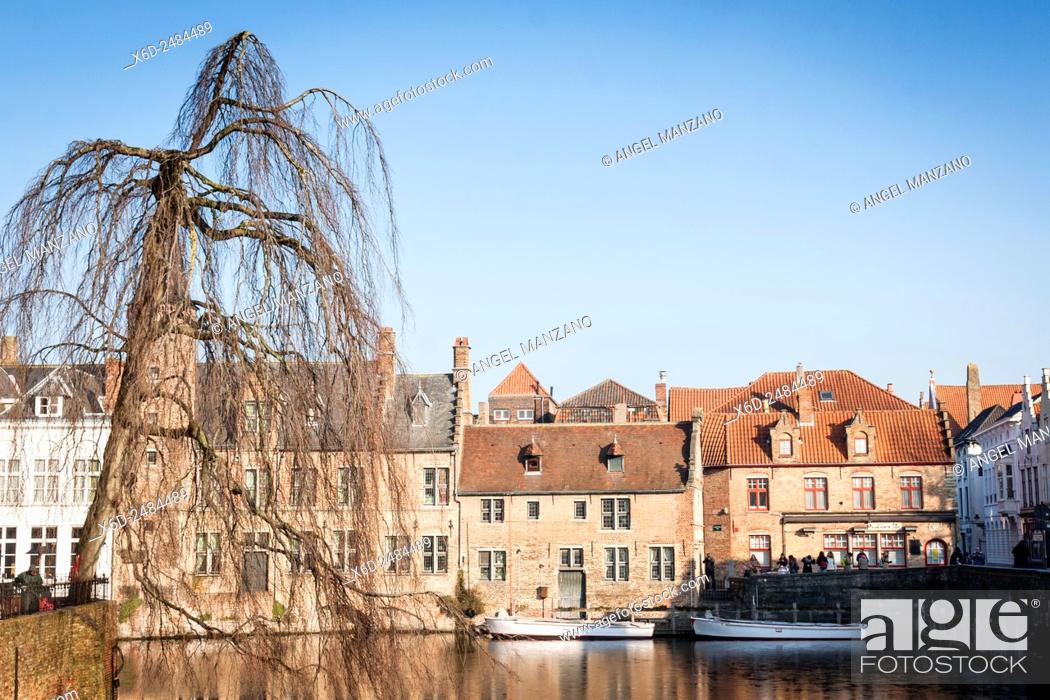 Stock Photo: Water canal, Bruges, Belgium.