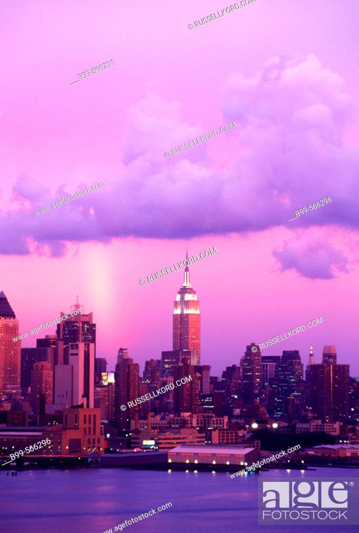 Stock Photo: Rainbow And Clouds, Mid-town Skyline, Manhattan, New York, Usa.