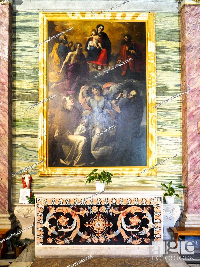 Stock Photo: Madonna and Child with Saints in Adoration (Saint Joseph, Saint Peter, Saint Paul, Saint Thomas. Chiesa di Santa Barbara dei Librai - Rome, Italy.