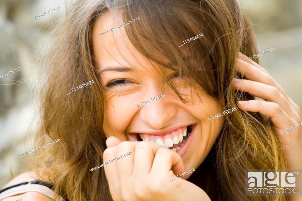 Stock Photo: Happy female portrait.