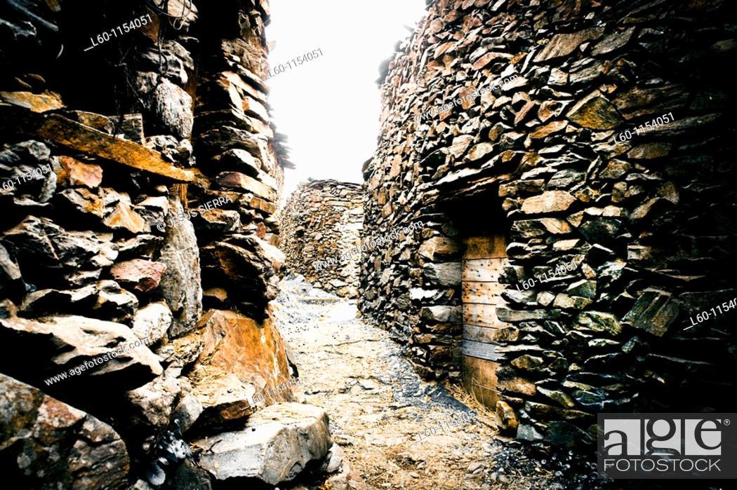 Stock Photo: El Gasco, medieval village in las Hurdes, Caceres, Spain.