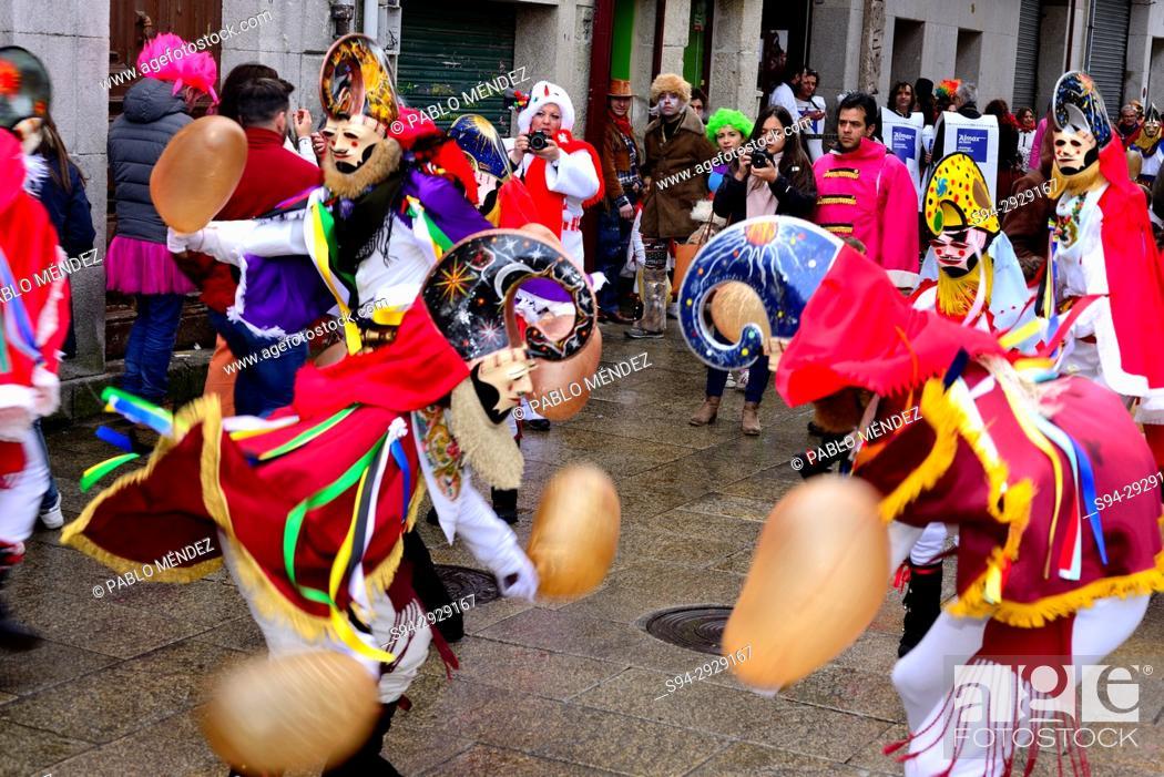 Stock Photo: Pantallas of Xinzo, mask of the Entroido or carnival in Xinzo de Limia, Orense, Spain.