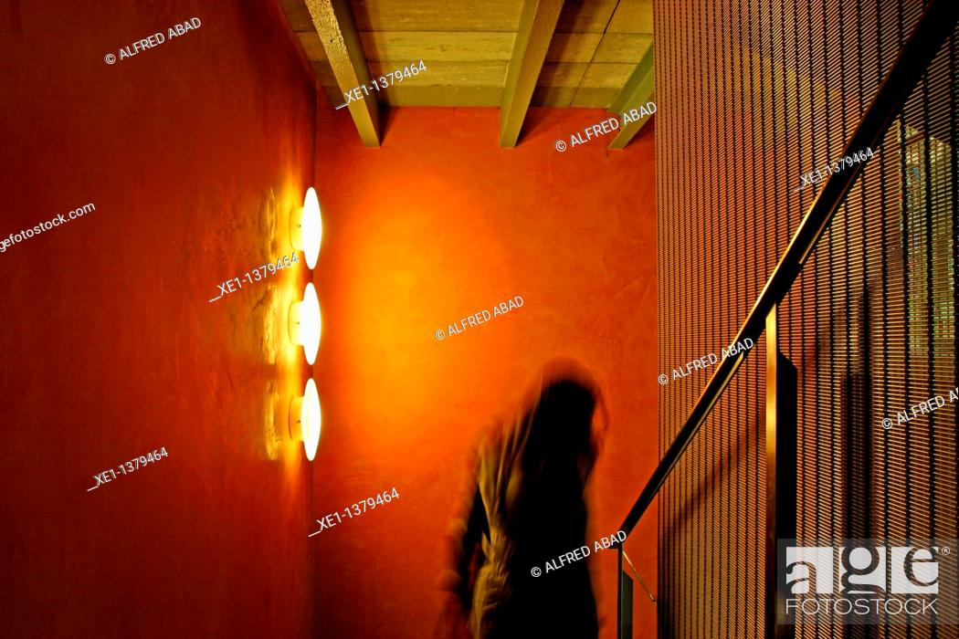 Stock Photo: woman down the stairs, Asia hause, Barcelona, Catalonia, Spain.