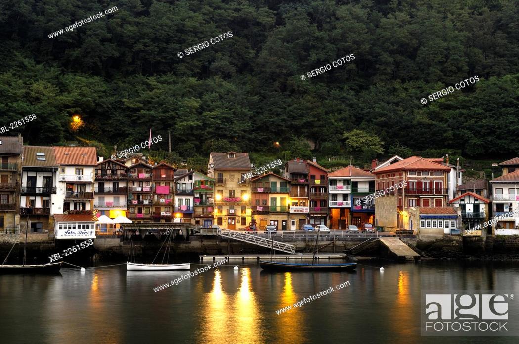 Stock Photo: night view of Pasajes de San Juan, Basque Country, guipuzcoa, Spain.