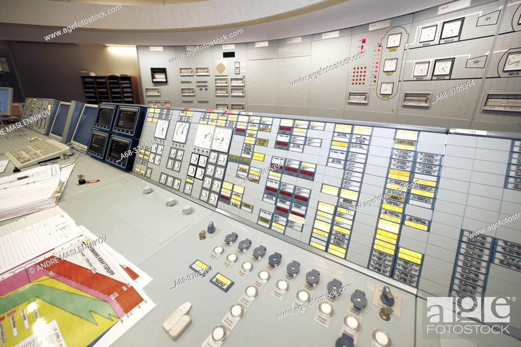 Stock Photo: Operator in the control room in Forsmark nuclear power plant.