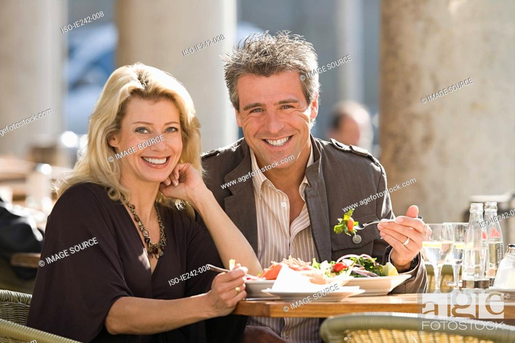 Stock Photo: Portrait of a couple dining.