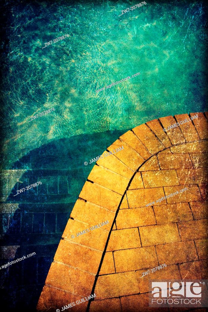 Stock Photo: Swimming pool edge detail, textured image.