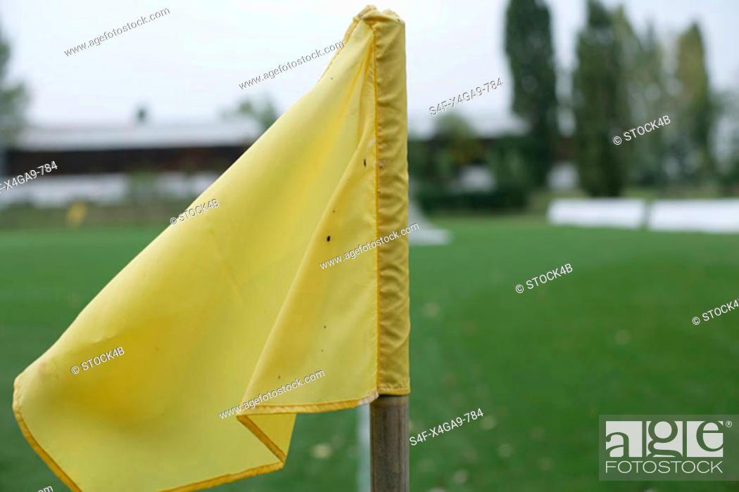 Stock Photo: Yellow corner flag.